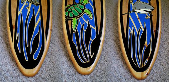 4 foot Triple Surfboard Set Wall Art Solid Wood Shark ...