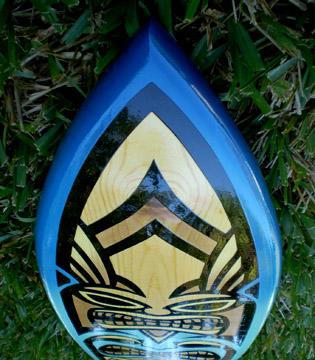 Ocean Blue Spoon Original Surfboard Tiki 3 foot Solid Wood ...