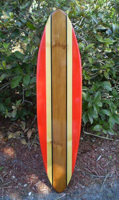 Red classic surfboard tropical wall art solid wood vintage for Surf decoration