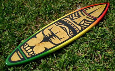 Rasta Tiki Solid Wood Surfboard 4 foot Wooden Surf Art ...
