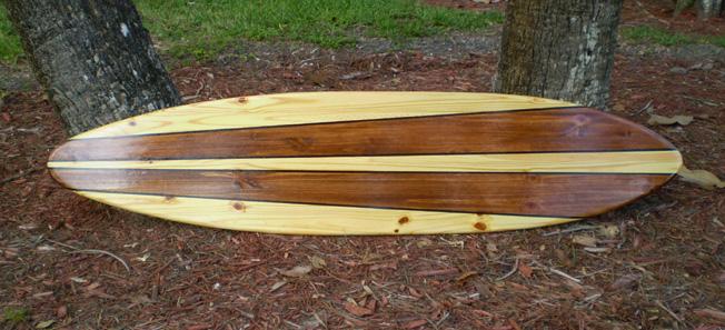 Original 6 Foot Taper Longboard Natural Wooden Surfboard