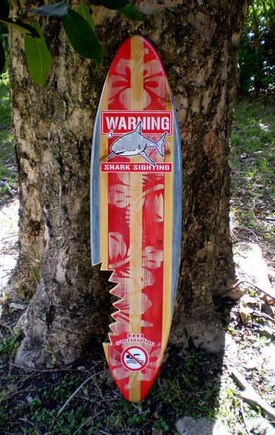 shark bite sign surfboard vintage 3 foot solid wood wall art tropical beach deco ebay. Black Bedroom Furniture Sets. Home Design Ideas