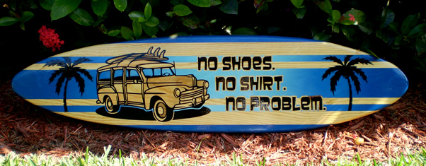 Surfboard Wall Art 3 foot horizontal woody no problem solid wood surfboard wall art